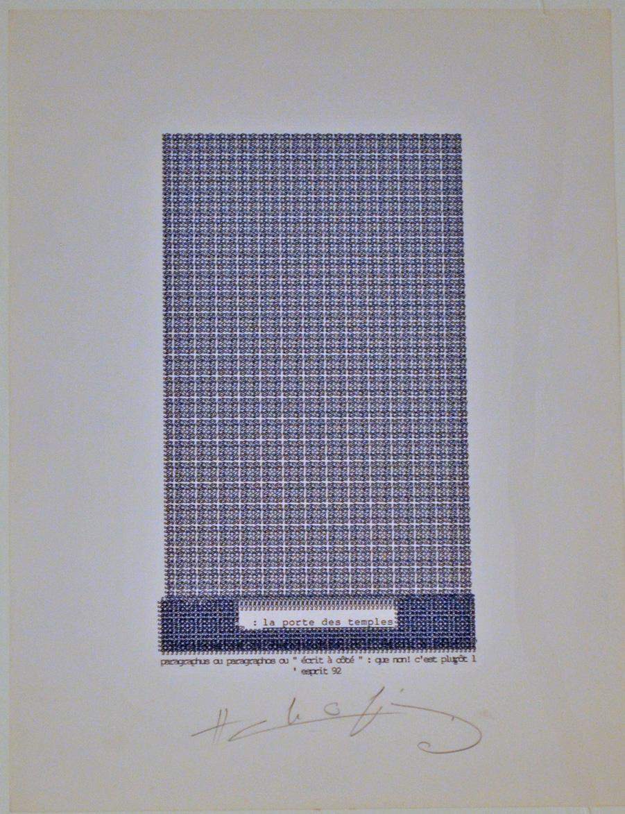 """""""La porte des temples"""", dattilopoema, 1992, cm. 31.5 x 23.5"""