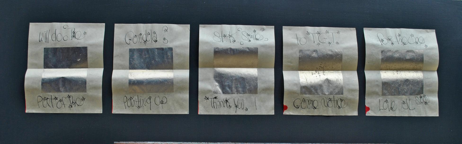 5 riquadri in argento meccato su velina, cm. 19.5 x 16 cad.